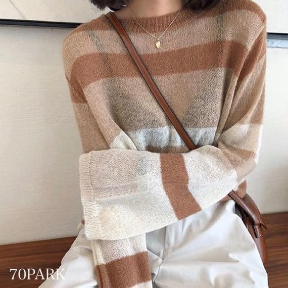 #Stripe Mohair Knit  ボーダー モヘア風 ルーズフィット ニット 全2色 シースルー