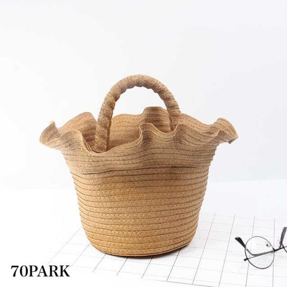 #Frill Basket Bag フリル かご バケツバッグ 全2色 カゴバッグ ハンドバッグ