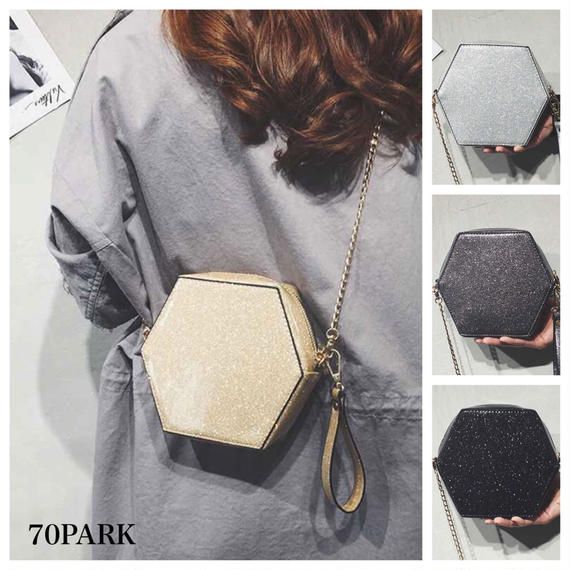 #Hexagon Shoulder Bag  六角形 グリッター チェーン パーティーバッグ 全5色 ラメ
