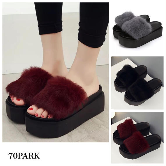 #Fur Platform Sandals  厚底 プラットフォーム ファー サンダル  全3色