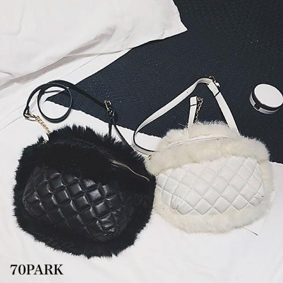 #Quilted Faux Fur Shoulder Bag キルティング × ファー コンビ素材 ショルダーバッグ 全2色