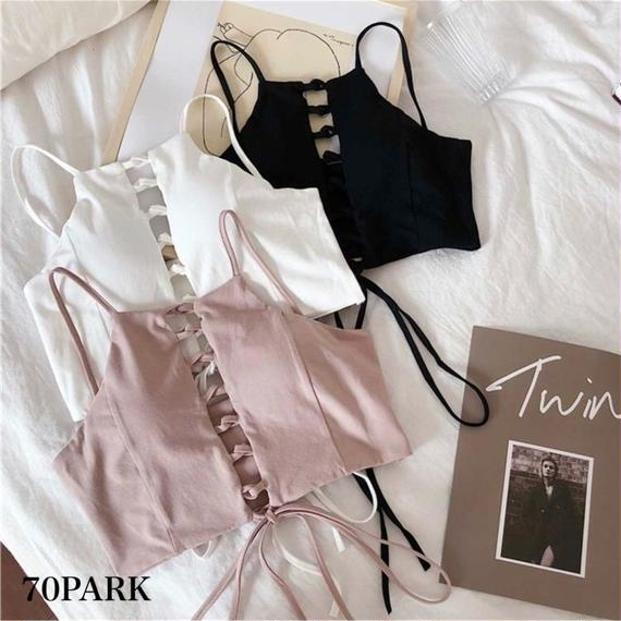 #Lace Up Crop Camisole フロント レースアップ クロップトップ キャミ 全3色 ブラトップ