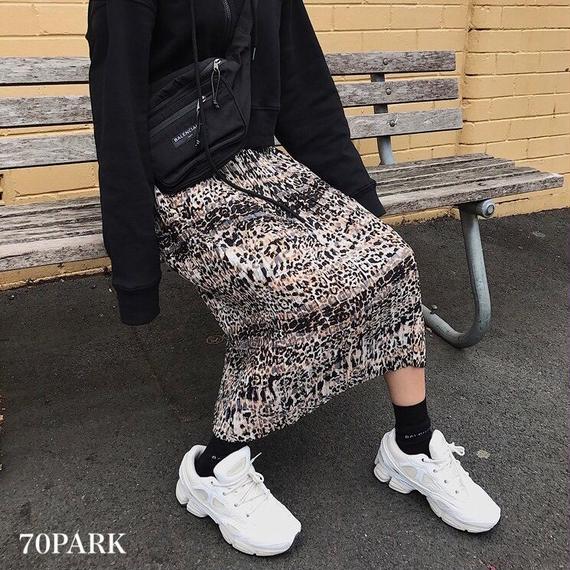 #Leopard Print Pleated Midi Skirt  細プリーツ レオパード柄  プリント ミディ スカート 豹柄