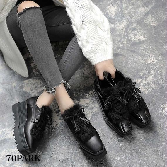 #Tassels Platform Oxford Shoes ファー × タッセル付 厚底 プラットフォーム シューズ 全2タイプ