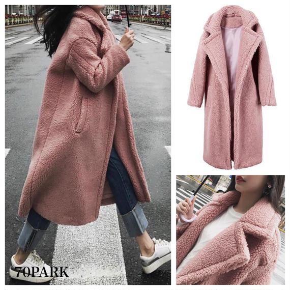 #Pink Oversized Boa Coat ピンク ボア オーバーサイズ  ロング コート