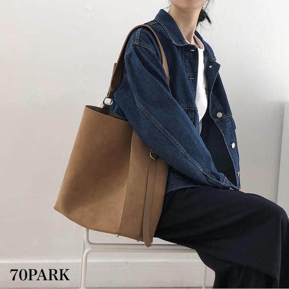 #Double Strap Tote bag  ダブルストラップ スエード調 トートバッグ 全3色