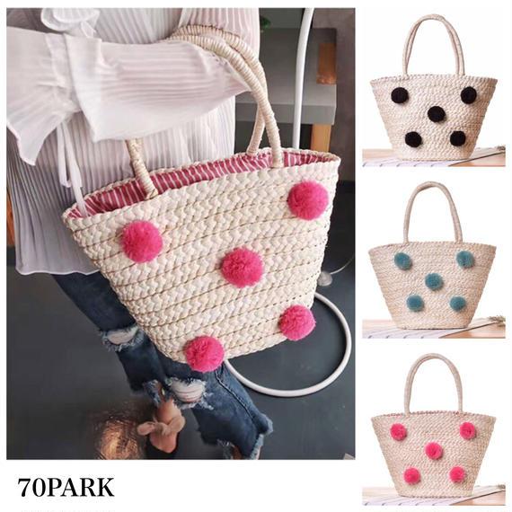 #Pom Pom Basket Bag カラー ポンポン付 かごバッグ 全3色 トートバッグ