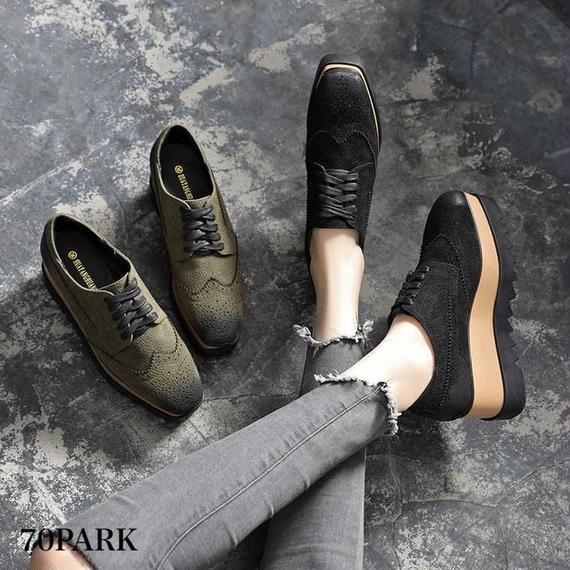 #Wing Tip Lace-up Platform Shoes  ヴィンテージ加工 ウイングチップ 厚底 シューズ 全2色