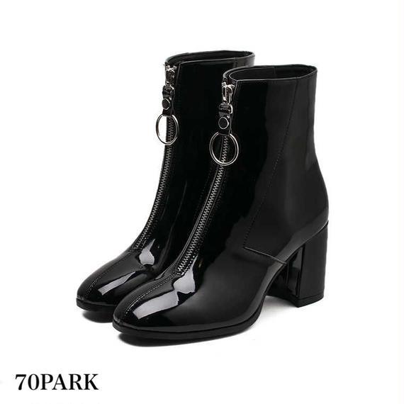 #Front Zip Ankle Boots エナメル フロント サークル ジップ アンクルブーツ 黒