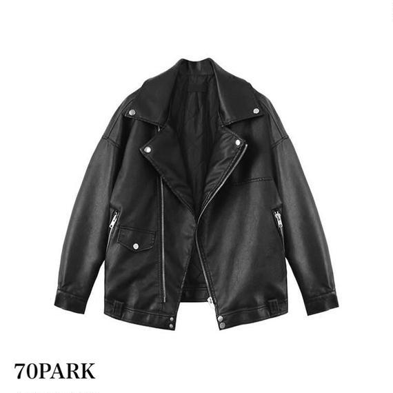 # PUレザー オーバーサイズ ライダース ジャケット ブラック Oversized Rider Jacket