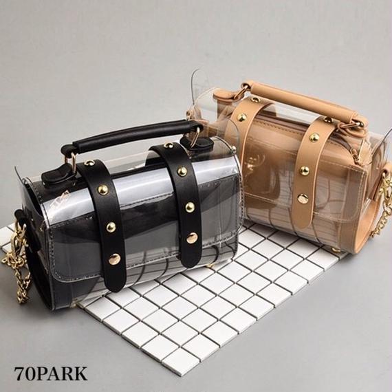 #PVC Chain Shoulder Bag クリア ダブル ベルト チェーン ショルダーバッグ 全4色