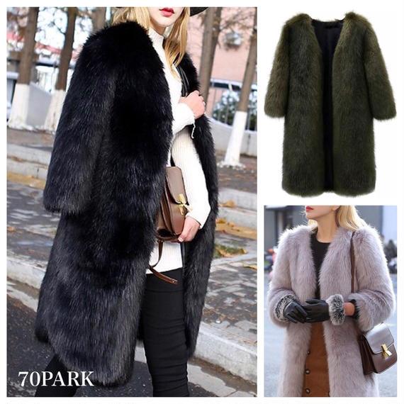 #Long Faux Fur Coat  エコファー  ボリューム シンプル ロングコート 全3色  6サイズ展開