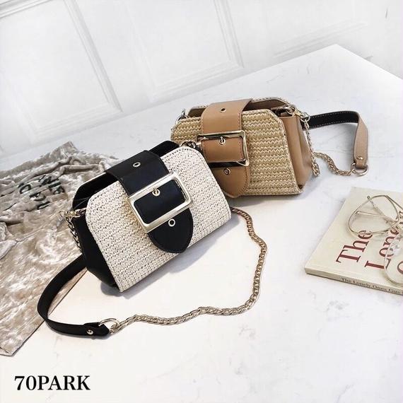 #Straw Chain Bag ゴールド バックル かご ミニ チェーンバッグ 全4色