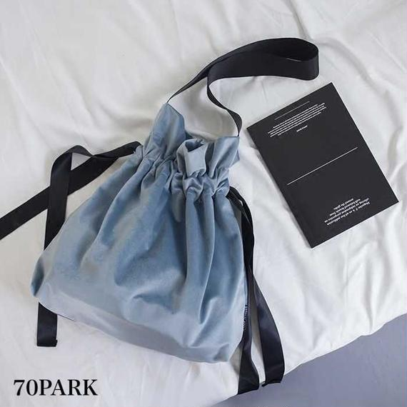 #Velvet Drawstring Bag ベロア 巾着型 リボン ショルダーバッグ 全4色 A4