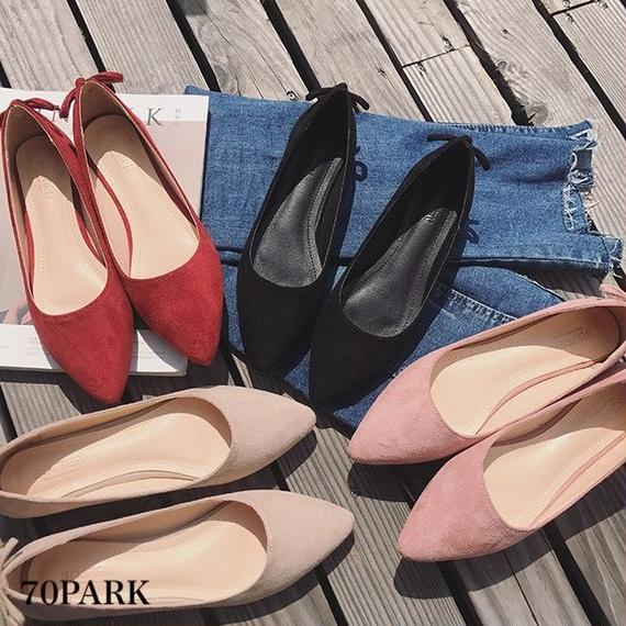 #Bow Tie Pointed Toe Flat Shoes かかとリボン ポインテッドトゥ ローヒール パンプス 全4色