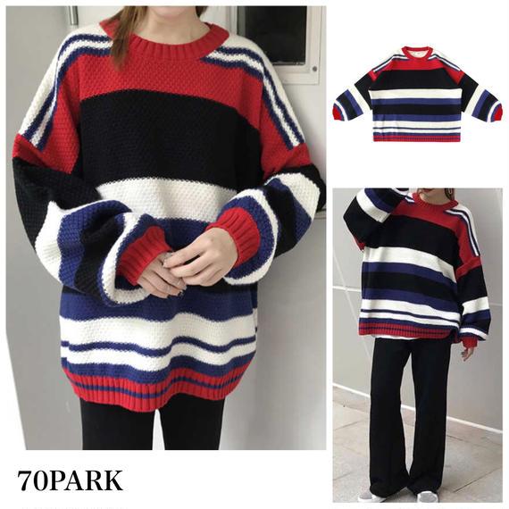 #Oversized Border Knit オーバーサイズ 配色 ボーダー クルーネック  ニット 赤