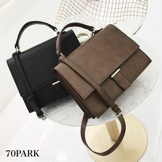 #2way Flap Shoulder Bag シンプル 大容量 フェイクレザー ショルダーバッグ 全2色