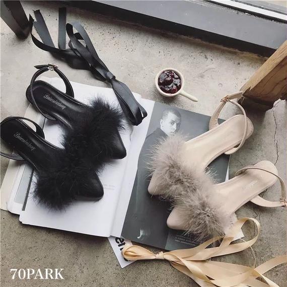 #Lace Up Fur Sleepers  リボン付 スリングバック ファー スリッパ  全2色 ミュール