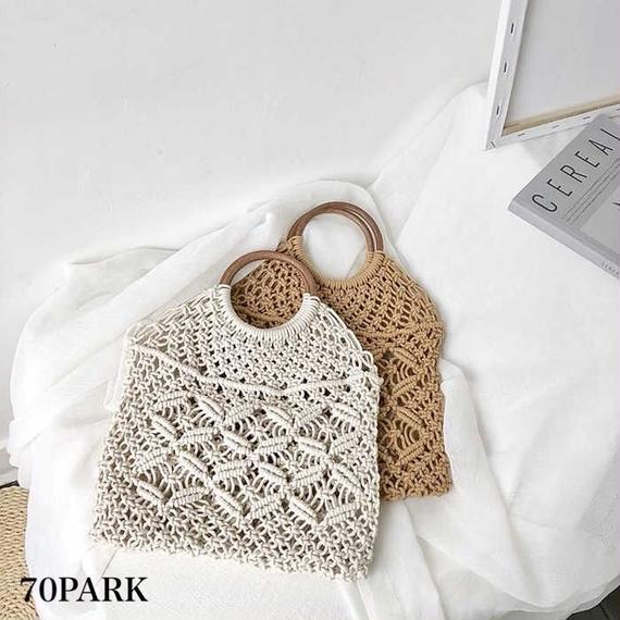 #Ring Handle Crochet Tote Bag リングハンドル クロシェ編み トートバッグ 全2色