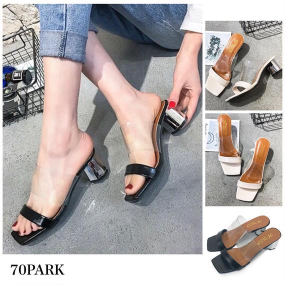 #Metallic Block Heel Sandals  シルバー メタリックヒール クリア サンダル 全2色 ミュール