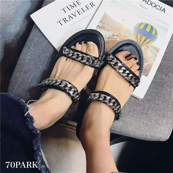 #Double Chain Sandals ダブル チェーン フラット サンダル  シルバー ペタンコ