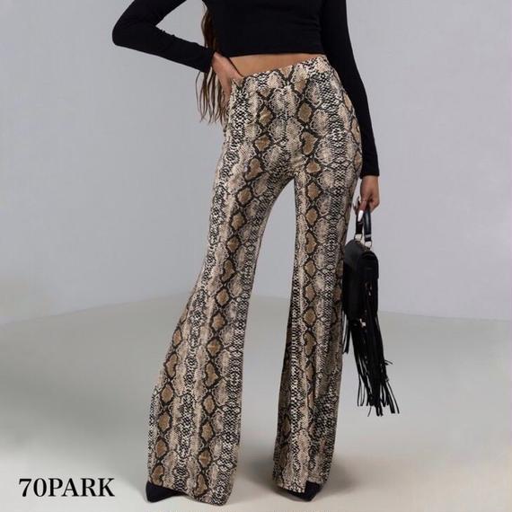 #Snakeskin Print Flare Pants パイソン柄 プリント ストレッチ フレアパンツ