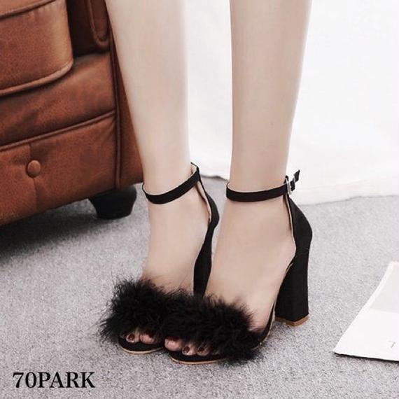 #Faux Fur Block Heel Sandals ファー アンクルストラップ 太ヒール サンダル 全4色