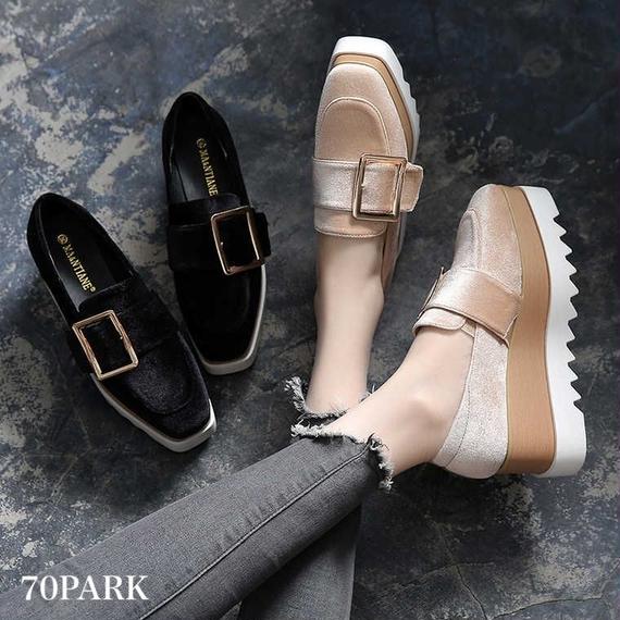 # Velvet Belted  Platform Shoes ベロア ゴールドバックル 厚底 プラットフォーム シューズ 全2色