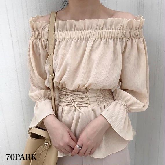 #Frill Off The Shoulder Lace Up  Tops  レースアップ  フリル ガーリー オフショルダー トップス 全2色 袖コン
