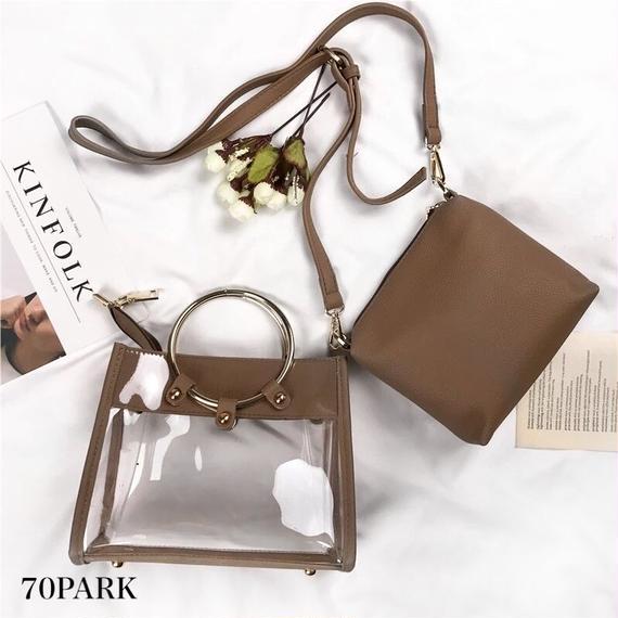 #3way PVC Ring Handle Shoulder Bag  ポーチ付き リングハンドル PVC クリアバッグ 全4色