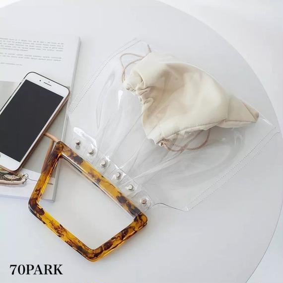 #Tortoise Shell Handle PVC Bag  べっ甲風 ハンドル PVC クリア バッグ