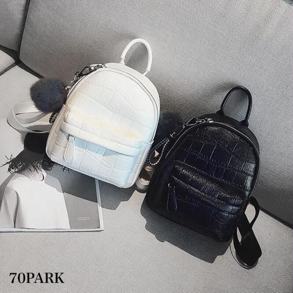 #Croc-Embossed Mini Backpack  ファー チャーム付 クロコ 型押し ミニ バックパック 全2色