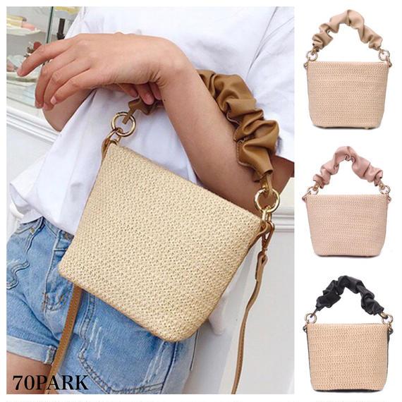 #2way  Gathered Handle Mini Basket Bag  ギャザー持ち手 コンビ素材 かごバッグ 全4色