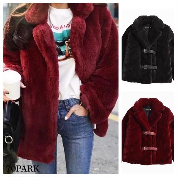#Belted Faux Fur Coat  ダブル ベルト ボリューム フェイクファーコート 全2色 ファージャケット