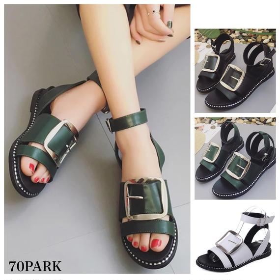 #Belt Buckle Sandals  太バッグル アンクルストラップ フラット サンダル 全3色