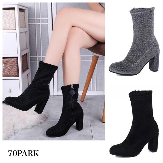 #Glitter Socks Boots グリッター アンクル ソックス ブーツ 全2色 ストレッチ ラメ