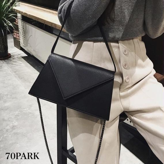 #2way Triangle Flap Bag 三角 フラップ チェーンショルダーバッグ 全3色 パーティー