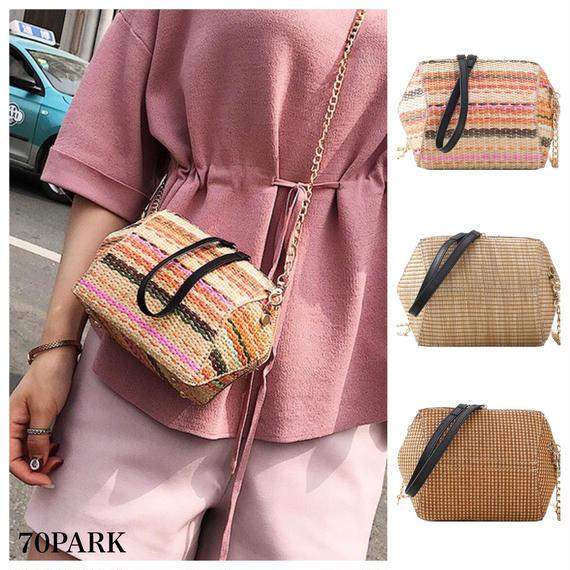 #Straw Mini Chain Bag 変形デザイン ミニ かご チェーンバッグ 全4色 カゴバッグ