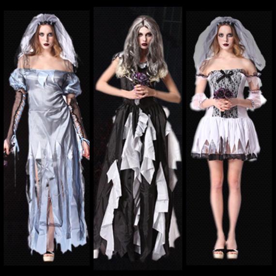#Zombie Wedding Costume  ゾンビ ウェディング ドレス 3種 花嫁 グループ ハロウィン
