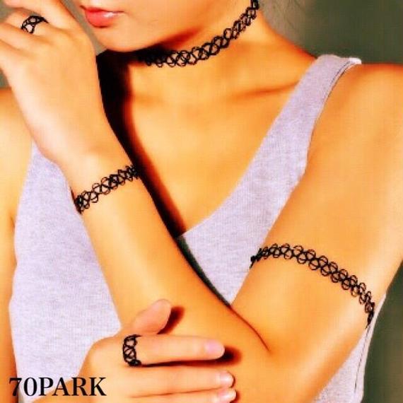 #Tattoo Choker & Bracelet & Ring Set タトゥチョーカー&ブレス&リングセット