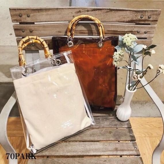 #2way PVC Bamboo Handle Bag バンブーハンドル PVC クリア バッグ 全2色 A4