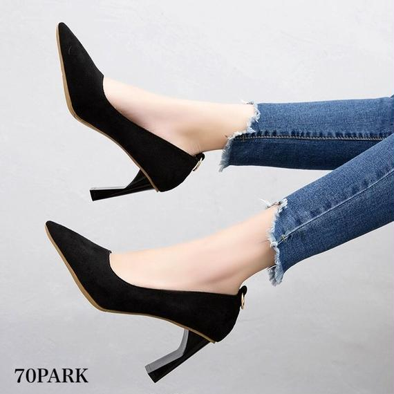 # Pointed toe High Heel Pumps  スエード調 変形ヒール 美脚 パンプス 全3色