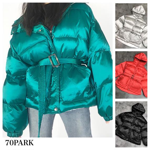 #Shiny Padded Jacket ウエストベルト付 シャイニー 中綿 ジャケット 全4色 ダウンジャケット