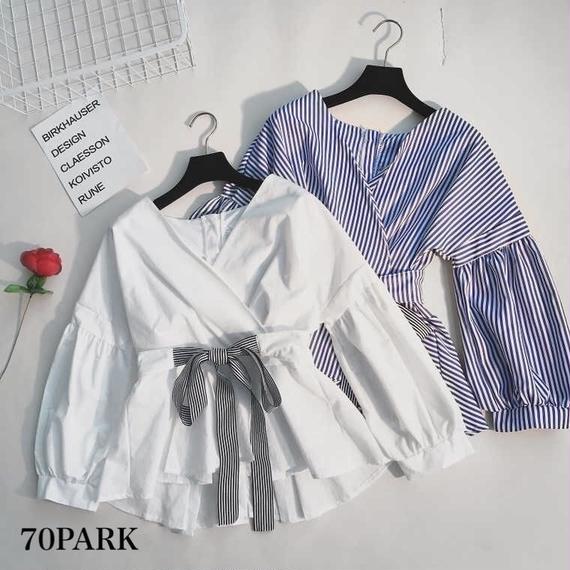 #Stripe Bow Wrapped Shirt ボリューム袖 ストライプ ウエストリボン ブラウス 全2色