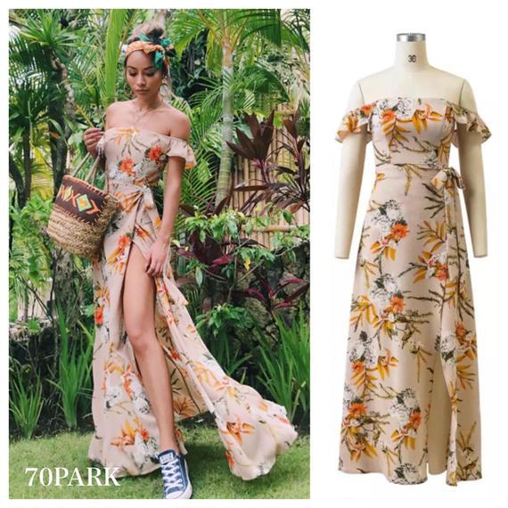 #Floral Off The Shoulder Maxi Dress  花柄 オフショルダー スリット入り ロング ワンピース リゾート