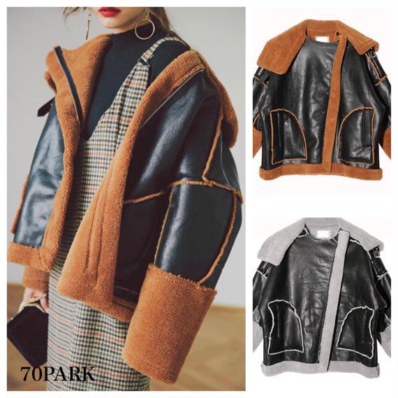 #Oversized Boa Mustang Jacket オーバーサイズ  フェイクレザー切り替え  ボア ジャケット 全2色 ムスタン