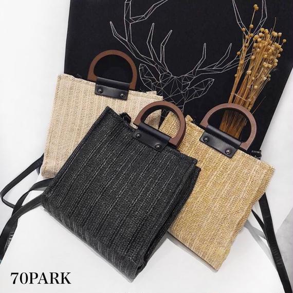 #2way  Basket Tote Bag  コンビ素材 かご 縦長 トートバッグ 全3色 ショルダー