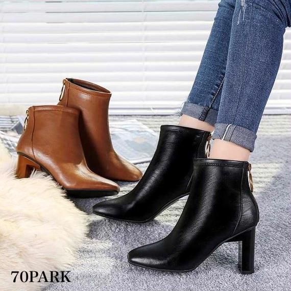#Ring Zip Ankle Boots リング ジップ 太ヒール シンプル ショートブーツ 全2色