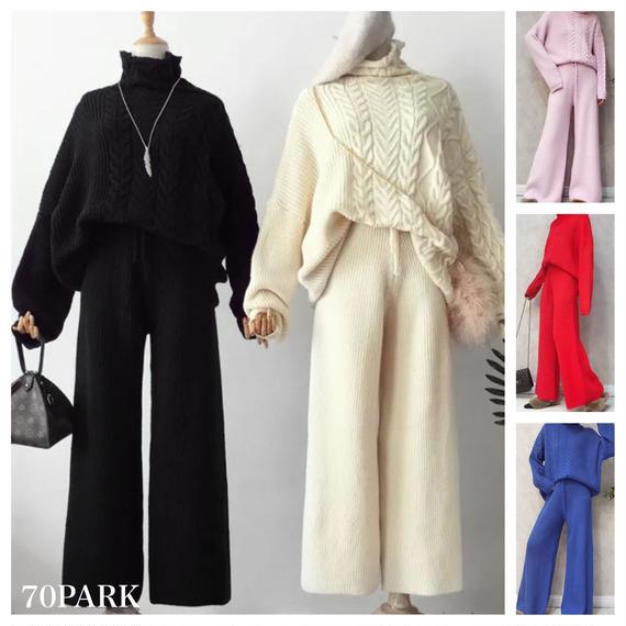 #Two Piece Knit Pants Set ケーブルニットトップス × ニットパンツ セットアップ 全5色 ニットアップ