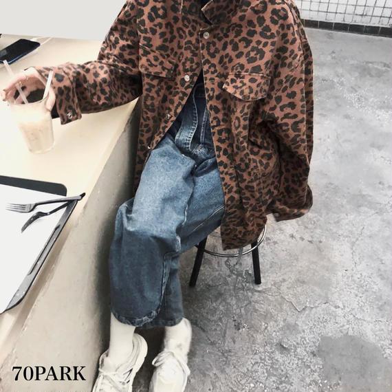 #Leopard Print Denim Jacket  レオパード柄 オーバーサイズ Gジャン  豹柄  ジャケット